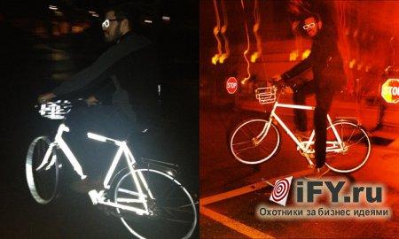 Безопасный велосипед на дороге